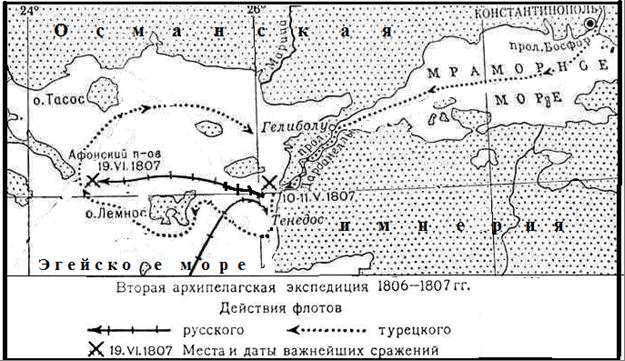 Схема действий эскадры Д. Н. Сенявина.  <br>